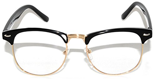 Retro Fashion Clear Lens Sunglasses Black-Gold Metal Half - Gold Black Metal