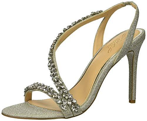 Jewel Badgley Mischka Women's Java Heeled Sandal, Silver, 8 M US ()