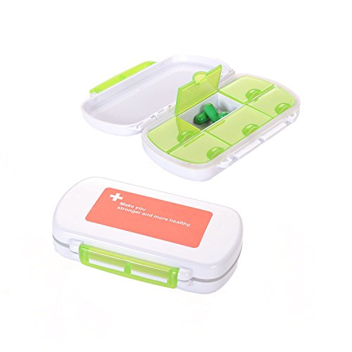 4ucycling 2 Pack Easy Carry Waterproof Divided Vitamin Medicine Box Pill Case Tight Lock 6 Compartment for Daily Using