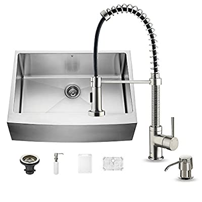 VIGO 30 inch Farmhouse Apron Single Bowl 16 Gauge Stainless Steel Kitchen Sink with Edison Stainless Steel Faucet, Grid, Strainer and Soap Dispenser
