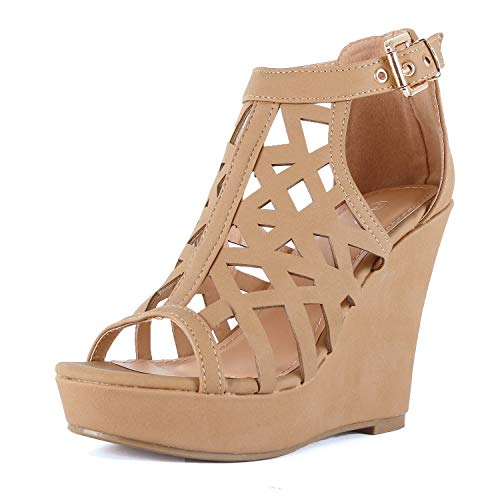Womens Gladiator Strappy Cut Out Open Toe Platform - Comfortable High Heel Wedge Sandals Shoes (6.5 B(M) US, Tanv2 Pu)