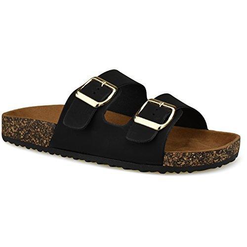Premier Standard Women's Comfort Low Easy Slip On Sandal – Casual Cork Bottom Platform Sandal Flat – Trendy Open Toe Slide Shoe, TPS Slides-001Yrolg Black Size 8.5