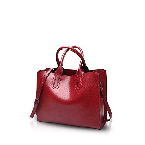 NICOLE&DORIS Tote Handbag Crossbody Bag Shoulder Bag Ladies Messenger Bag Purse PU Leather Pink Red