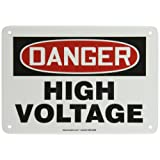 """ACCUFORM SIGNS MELC113VA Aluminum Safety Sign, Legend """"DANGER HIGH VOLTAGE"""", 7-Inch Length x 10-Inch Width x 0.040-Inch Thickness, Red/Black on White"""