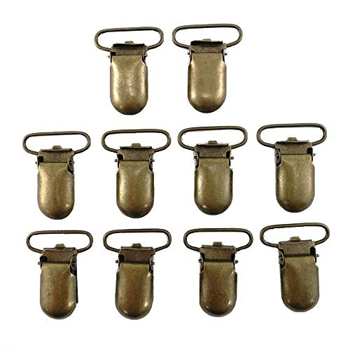 (JerryMart 25pcs 25mm (1 inch) Pacifier Suspender Clips, Pacifier Clips for Making Pacifier Holders Bib Clips Toy Holder (Color: Antique Brass))