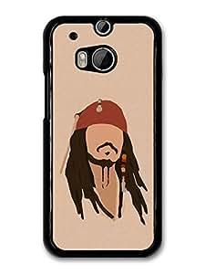 AMAF ? Accessories Jack Sparrow Johnny Depp Pirate Minimalist Illustration case for HTC One M8
