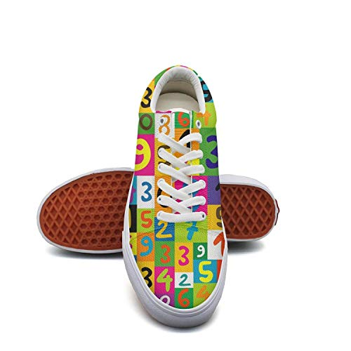 GirlColorful Math Numbers Seamless Canvas Shoes Low-Cut Straps Classic Sneakers Suitable for Walking]()