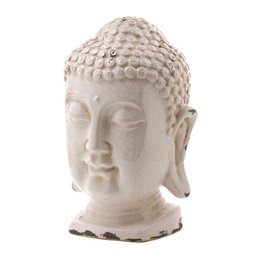 Ceramic Head Statue Buddha (GHP Weathered Finish Ivory 7 1/4