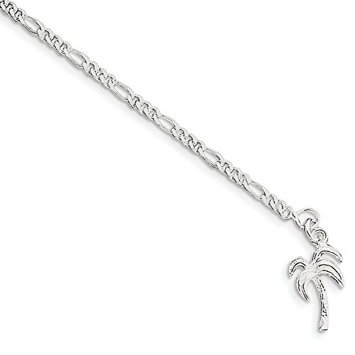 925 Sterling Silver 10 Inch Solid Palm Tree Anklet Ankle Beach Chain Bracelet Seashore Fine Jewelry Gifts For Women For - Tree Palm Swarovski Crystals