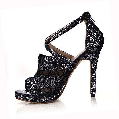 LFNLYX Sandalias de mujeres el consuelo de verano Tulle Office & Carrera Stiletto talón vestido negro oro blanco. Black
