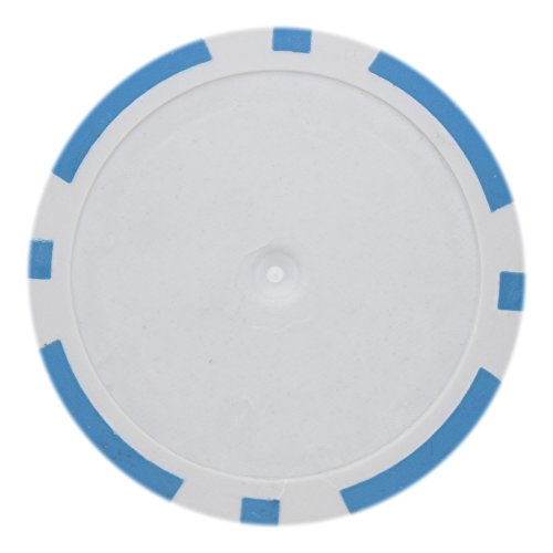 Chips Denominated Poker Composite Clay - Brybelly 8 Stripe Poker Chip Heavyweight 14-Gram Clay Composite - Pack of 50 (Light Blue)
