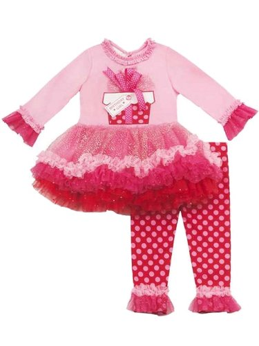 Rare Editions Girls Present Birthday Dress Outfit Leggings , Pink , 18M