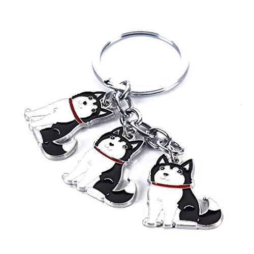 NIKOLay Pet Puppy Keychain Interesting Husky Coki Bullfighting Keyring Lovely Pendant Handbag Keychain,Black - Bull Keychain Metal