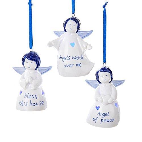 (Kurt Adler 3 Assorted Delft LED Angel Christmas)