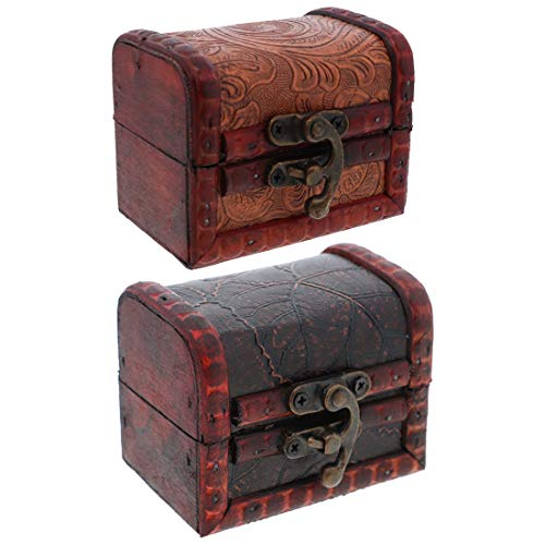 - SandT Collection 3 Inch Wooden Chest Keepsake Treasure Box for Trinkets - Set of 2 (Swirl & Leaf)