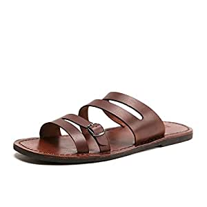 Summer Men All Cowhide Flip Flops Men's Casual Sandals Fashion Slippers Breathable Beach Shoes Slides Beach Water Shoes (Color : Brown, Size : 9.5-MUS)
