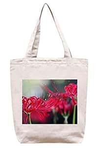 Color rojo flores–algodón Canvas Tote Bag