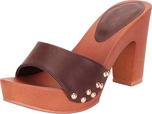 Cambridge Select Women's Retro Open Toe Single Band Studded Clog Slip-On Chunky Platform High Heel Sandal,8 B(M) US,Chocolate PU