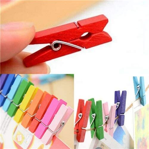 50PCS Lot Mini DIY Wooden Clothes Photo Paper Pegs Clothespin Cards Craft Clips