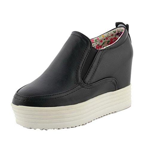 AllhqFashion Damen Rund Zehe Ziehen auf PU Leder Gemischte Farbe Hoher Absatz Pumps Schuhe Schwarz
