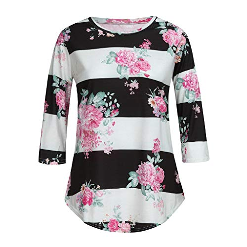 - Allywit- Women Blouse 3/4 Sleeve Floral Print T-Shirt Comfy Casual Tops for Women White
