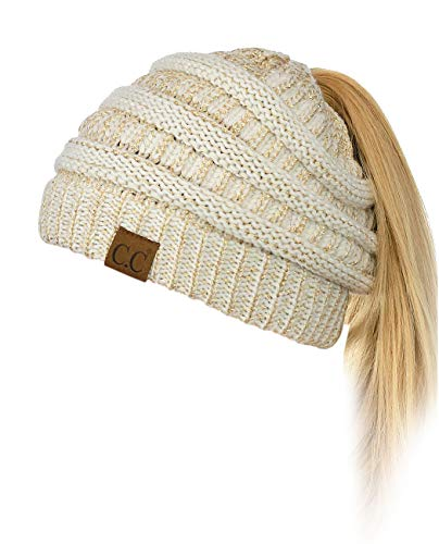 C.C BeanieTail Soft Stretch Cable Knit Messy High Bun Ponytail Beanie Hat, Ivory/Gold Metallic (Gold Knit Beanie)