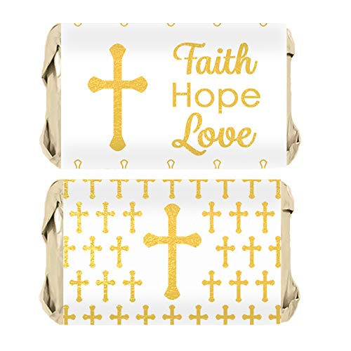 - Baptism, Christening, First Communion Party Favors - Cross Mini Candy Bar Wrappers - 45 Stickers