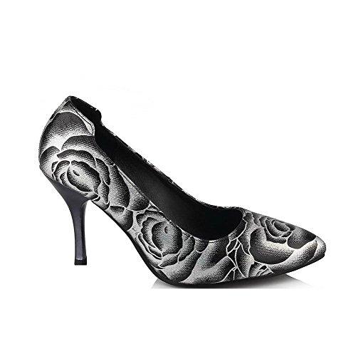 VogueZone009 Damen Ziehen auf Spitz Schließen Zehe Stiletto Gemischte Farbe Pumps Schuhe Schwarz