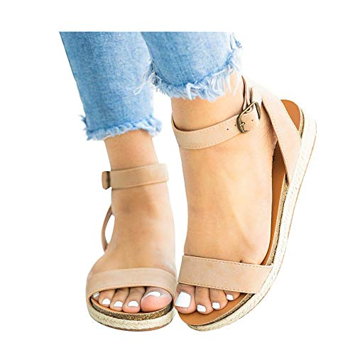 (Women's Leopard Print Flats Open Toe Ankle Strap Buckle Sandals Thick-Soled Cork Slippers (Beige -2, US:7.5))
