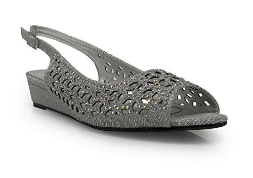 Guppie Womens Open Toe Low Heel Sling Back Wedding Rhinestone Wedge Sandal Shoes (8.5, Silver)