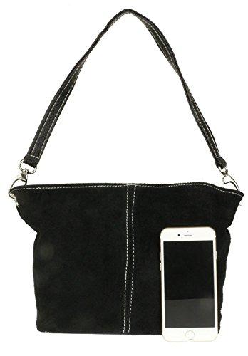 Craze London Womens New Genuine Suede Leather Handbag Shoulder Bag Tote Black