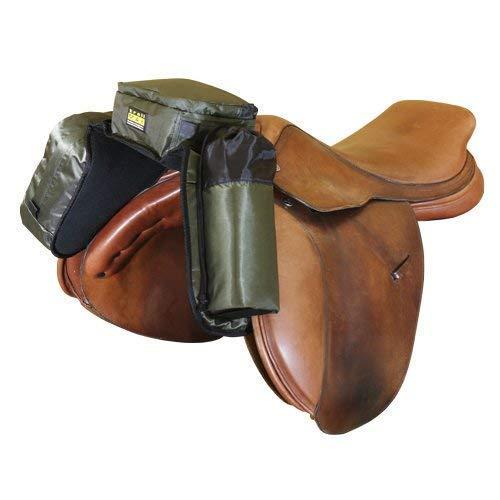 TrailMax Compact English Pommel Pocket Horse Saddlebag with Water Bottle Sleeve for Trail Riding, Works with English, Endurance & Australian Saddles, Sage Green