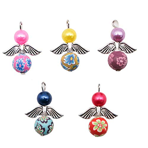 Angels Beads - JETEHO Pack of 25 Angel Rock Beads Pendants Gems Round Ball Handmade Stone Gemstone for Necklace Jewelry Making