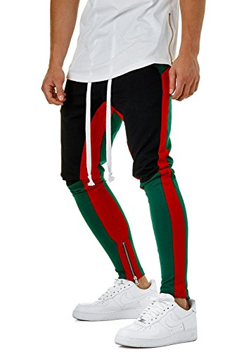 Men Fashion Color Block Patchwork Jogging Pant Sports Hip Hop Track Trousers Long Slacks Slim Fit (C, XL) by GETHIS