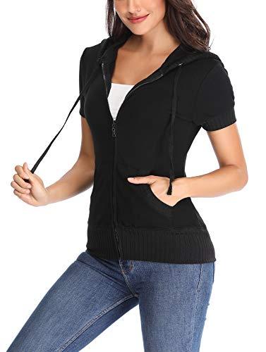 MISS MOLY Women Zip up Hoodie Short Sleeve Hoody Full Zip Sweatshirt Casual Cute Jacket Black L