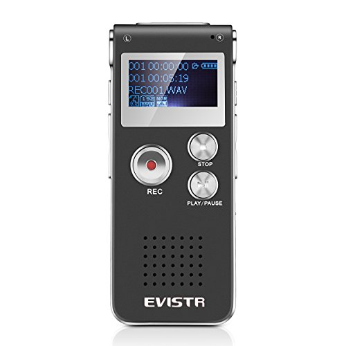 EVISTR Digital Voice Recorder L169-8GB / 560Hrs Capacity Digital Audio Recorder Dictaphone, Voice Activated Recorder with MP3 Player, Built-in Speaker by EVISTR