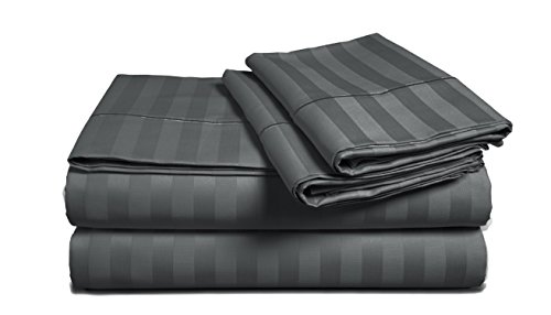 Chateau Home Hotel Collection - Luxury 500 Thread Count 100% Egyptian Cotton Damask Stripe Deep Pocket Super Soft Sateen Weave Sheet Set, Mega Sale Lowest Prices (Queen, Dark Slate)
