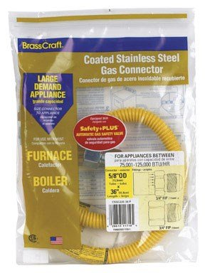 BrassCraft CSSC22E-36 P 5/8-Inch Outer Diameter Safety Plus Gas Appliance Connector with Excess Flow Valve