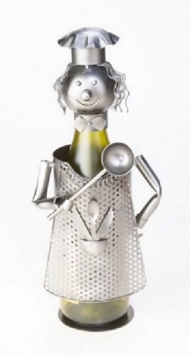 Berkeley Designs Metal Female Chef Wine Bottle Caddy and Holder