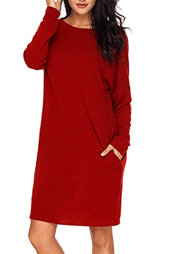 Dokotoo Womens Oversized Cotton Juniors Winter Fall Batwing Sleeve Crewneck Loose Pocket Knitting Tunic Mini Dresses Under 10 20 Burgundy XX-Large (Dress Knitting Cotton)