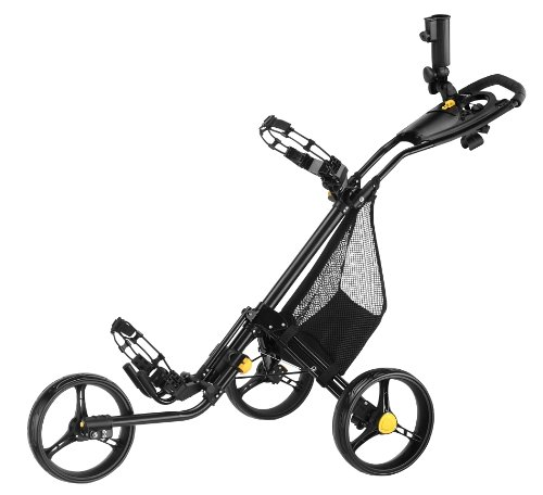 CaddyLite 15.3 Black-Yellow Golf Push Cart with Free Storage Mesh Net and Free Shoe Brush