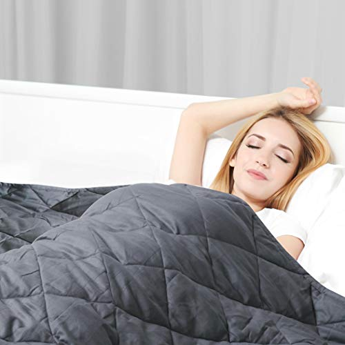 Cheap ORTIST Weighted Blanket 15 lbs for Adult (Grey 48 x 72 Twin Size) 3.0 Heavy Blanket 100% Soft Cotton with Glass Beads Black Friday & Cyber Monday 2019