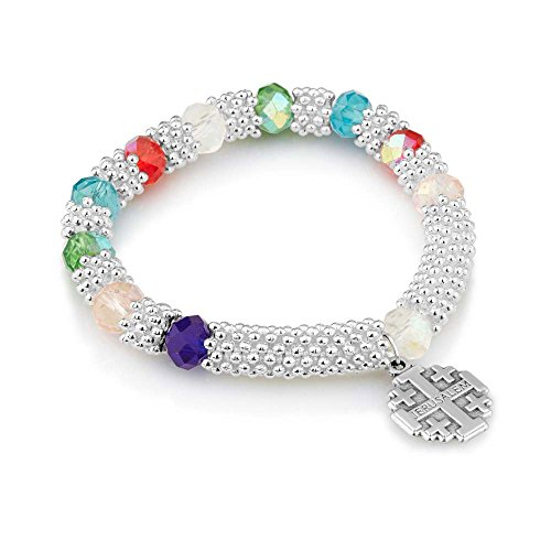 Marina Jewellery Iridescent Faceted Glass Bead and Wide Braided Silver Plate Chain Rosary Bracelet with Jerusalem Cross Pendant (First Bracelet Communion Beaded)