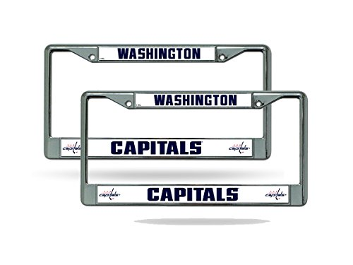 Washington Capitals NHL Chrome Metal (2) License Plate Frame Set