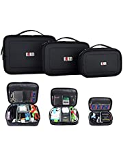 BUBM 3PCS Accessories Carry Bag Gadget Bag Cable Organiser Bags Travel Cable Case Electronics Organiser for Chargers Cables Powerbank Hard Drive