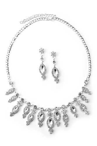 (Topwholesalejewel Silver Crystal Rhinestone Candy Wrapped Shape Charms Necklace & Matching Dangle Earrings Jewelry Set)