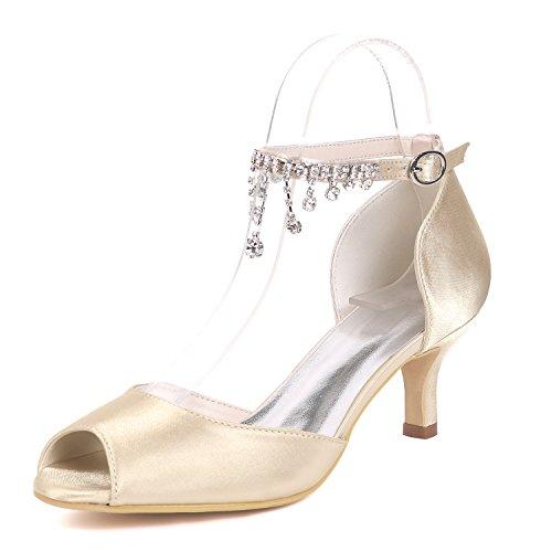 Del Pie Champagne Peep Zapatos Toe Shoes De Las Satén Plataforma Pendiente Eleoulck Rhinestones court Stiletto Mujeres Dedo Boda nR0AznTHwq