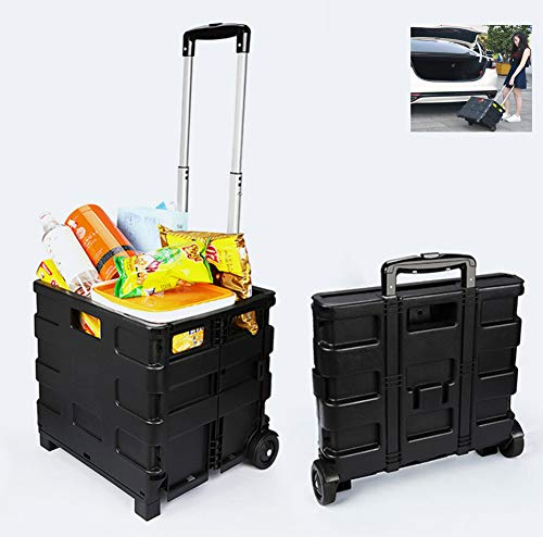 - LUCKYYAN Ultra Compact Quik Cart Two-Wheeled Collapsible Handcart Rolling Utility Cart with Seat Heavy Duty Lightweight, Black
