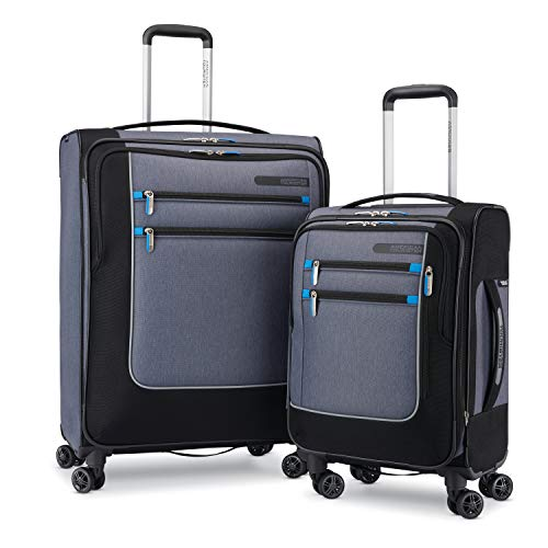American Tourister Istack Travel System Softside 2-Piece Setwith Double Air Flow Spinner Wheels, Heather Grey/Black (2 Piece Stackable Luggage Set)
