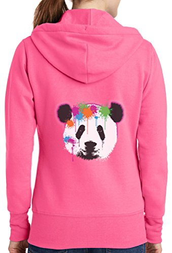Womens Neon Panda Full Zip Hoodie, Neon Pink, 4X